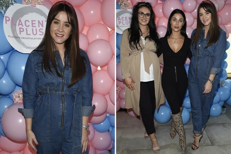 Brooke Vincent shows off her bump in denim jumpsuit with Kym Marsh's pregnant daughter Emily