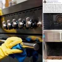 Woman uses a mix of coconut oil, salt and baking soda to get her filthy oven clean in minutes