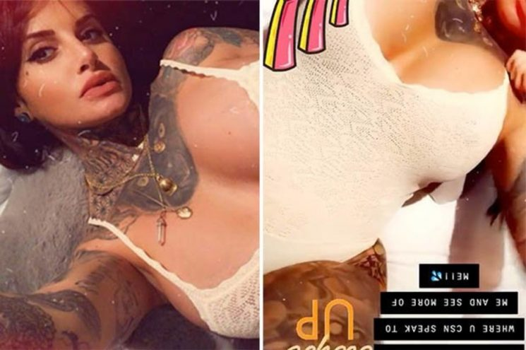 What a view! Jemma Lucy tugs at paper-thin bodysuit to expose assets